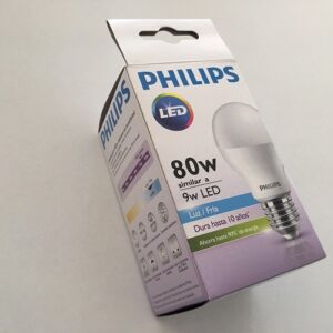 LAMPARA PHILIPS LED BULB 9W=80W FRIA